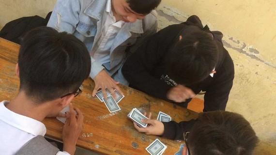 Ra tết, sau giờ học, học sinh một trường THPT ở TP Tân An, tỉnh Long An                                       ở lại lớp đánh bài giải khuây.                  Ảnh: LÊ DUY