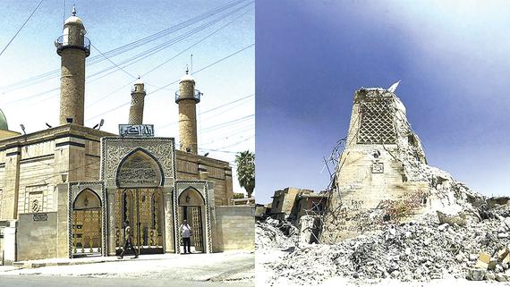 Đền thờ Hồi giáo Al-Nouri  trước và sau khi bị phá hủy