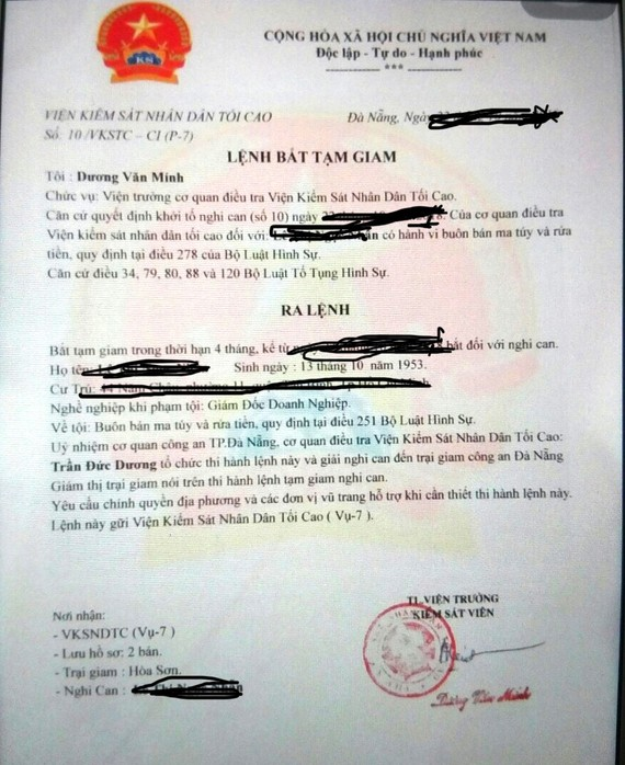 Kẻ gian gửi lệnh bắt giam (giả)  để buộc bà N. phải chuyển tiền