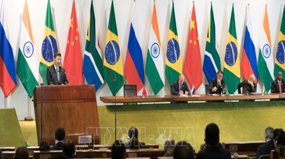 Chủ tịch Trung Quốc Tập Cận Bình phát biểu tại phiên họp phiên toàn thể  của Hội nghị thượng đỉnh BRICS lần thứ 11. Ảnh: TTXVN