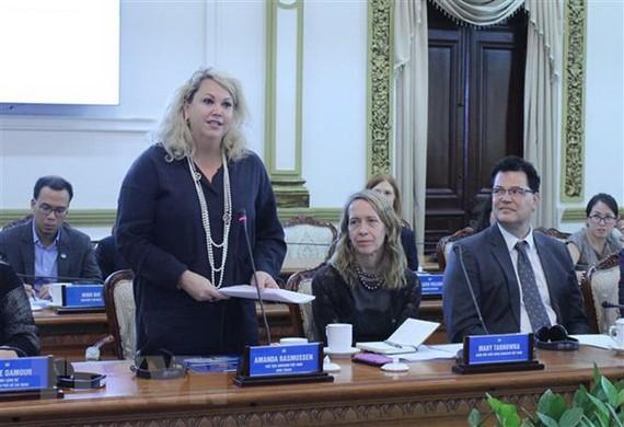 Bà Amanda Rasussen, Chủ tịch AmCham Việt Nam. Ảnh: TTXVN