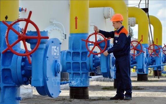 Công nhân vận hành hệ thống đường ống dẫn khí đốt tại thị trấn Boyarka, vùng Kiev, Ukraine. Ảnh: TTXVN