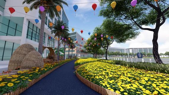 Phối cảnh cánh đồng hoa cúc tại Hội hoa xuân Phú Mỹ Hưng Tết Canh Tý 2020