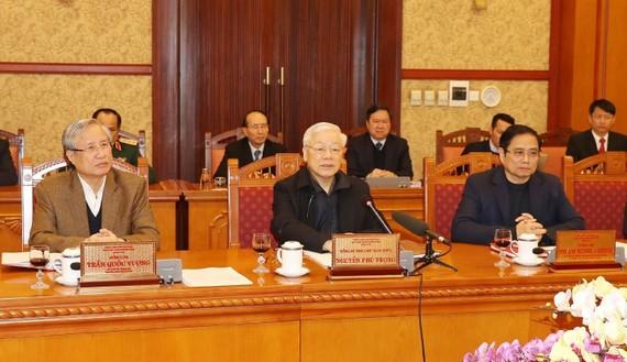 Tổng Bí thư, Chủ tịch nước Nguyễn Phú Trọng chủ trì họp  Ban Bí thư  đánh giá  kết quả thực hiện Chỉ thị 40 của  Ban Bí thư  về tổ chức  Tết Canh Tý 2020; xem xét, quyết định về công tác cán bộ. Ảnh: TTXVN