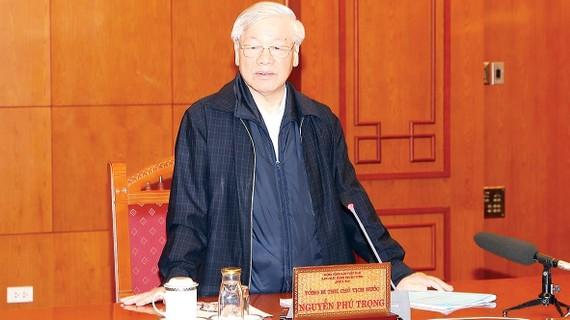 Tổng Bí thư, Chủ tịch nước Nguyễn Phú Trọng, Trưởng Tiểu ban Nhân sự  Đại hội XIII của Đảng, phát biểu chỉ đạo cuộc họp. Ảnh: TTXVN