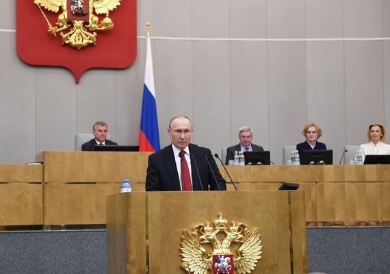 Tổng thống Nga Vladimir Putin phát biểu tại một phiên họp Duma quốc gia Nga ở Moskva. Ảnh: THX/TTXVN