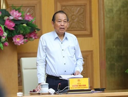 Phó Thủ tướng Thường trực Chính phủ Trương Hòa Bình phát biểu tại Phiên họp. Ảnh: VGP