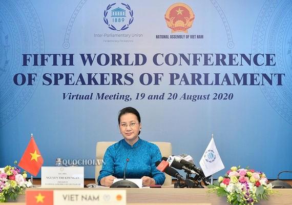 Chủ tịch Quốc hội Nguyễn Thị Kim Ngân tham dự Hội nghị trực tuyến Hội nghị thượng đỉnh các Chủ tịch Quốc hội thế giới lần thứ 5