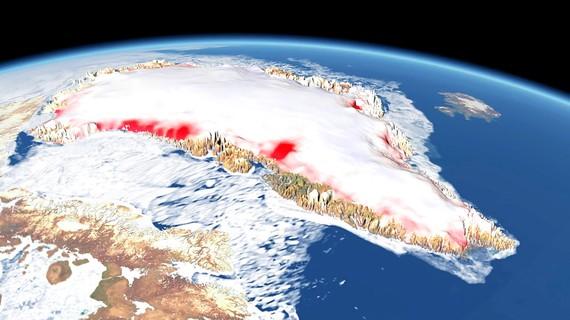 Ảnh chụp vệ tinh về tốc độ tan chảy băng ở Greenland của NASA