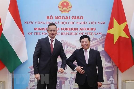 Bộ trưởng Bộ Ngoại giao Phạm Bình Minh với Bộ trưởng Ngoại giao và Kinh tế đối ngoại Hungary Szijjártó Péter. Ảnh: TTXVN