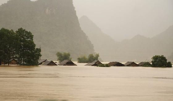 Tại Tân Hóa, huyện Minh Hóa (Quảng Bình), nước lũ dâng cao hơn 2m, khoảng 300 ngôi nhà bị ngập sâu. Ảnh: TTXVN