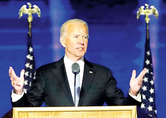 Ông Joe Biden phát biểu tuyên bố chiến thắng  tại Wilmington, bang Delaware (Mỹ). Ảnh: AP