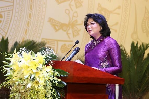 Phó Chủ tịch nước Đặng Thị Ngọc Thịnh phát biểu tại Đại hội thi đua yêu nước lần thứ III của Bộ VHTT&DL. Ảnh VGP