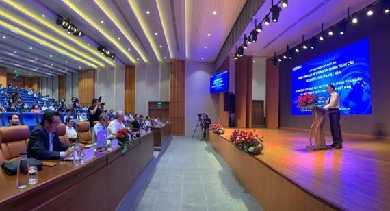 """Quang cảnh Hội thảo """"Định hình lại hệ thống tài chính toàn cầu và chiến lược của Việt Nam"""" sáng 27-4"""