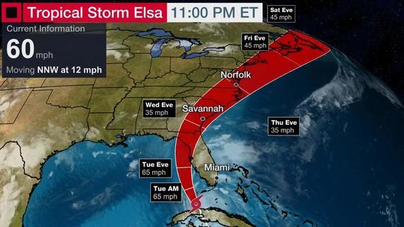 Bão nhiệt đới Elsa đang di chuyển tràn vào quần đảo san hô Florida Keys, Đông Nam nước Mỹ. Ảnh: WEATHER.COM
