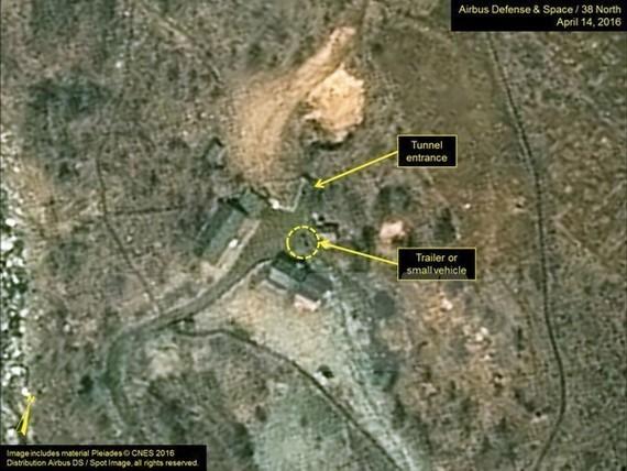 Bãi thử hạt nhân Punggye-ri của Triều Tiên được chụp qua vệ tinh. Nguồn: 38 North