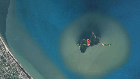 Đảo Hòn Ngư - nơi xảy ra vụ chìm tàu. Ảnh: Google Maps