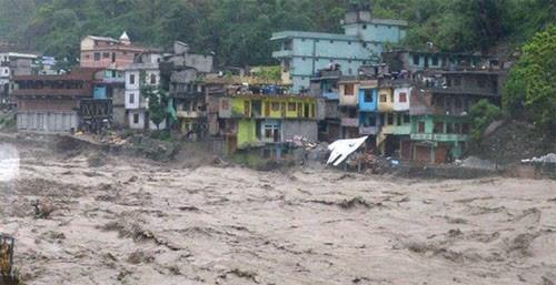 Lũ quét tại Nepal sau cơn mưa đêm 11, sáng 12-8. Ảnh: New Business Age