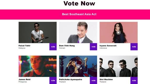 Ca sĩ Đàm Vĩnh Hưng lọt vào danh sách đề cử giải MTV châu Âu