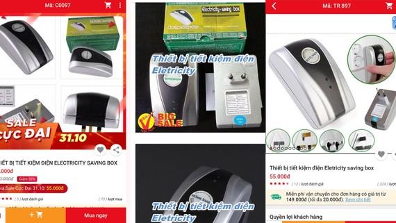 Thiết bị tiết kiệm điện được quảng cáo trên nhiều website bán hàng điện tử