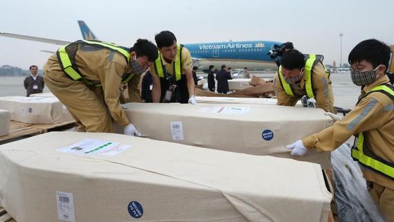 Nhân viên sân bay quốc tế Nội Bài vận chuyển thi thể các nạn nhân lên ôtô để đưa về quê nhà. Ảnh: TTXVN