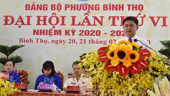 Bí thư Quận ủy quận Thủ Đức Nguyễn Mạnh Cường phát biểu chỉ đạo đại hội. ẢNh: hcmcpv.org.vn