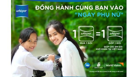 Whisper trao tặng hơn 326.000 gói băng vệ sinh cho trẻ em gái ở miền Trung Việt Nam