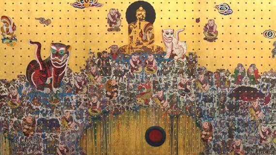 Một tác phẩm của họa sĩ Bùi Thanh Tâm tại triển lãm Không có gì ở đằng sau
