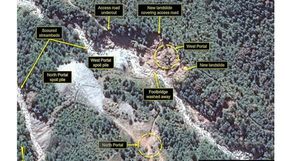 Phía Bắc và Tây của cơ sở hạt nhân Punggye-ri ở tỉnh Bắc Hamkyong, Triều Tiên. Ảnh: YONHAP