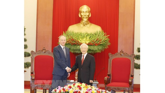 Tổng Bí thư, Chủ tịch nước Nguyễn Phú Trọng tiếp Đại tướng Nikolai Patrushev, Thư ký Hội đồng An ninh Liên bang Nga. Ảnh: TTXVN
