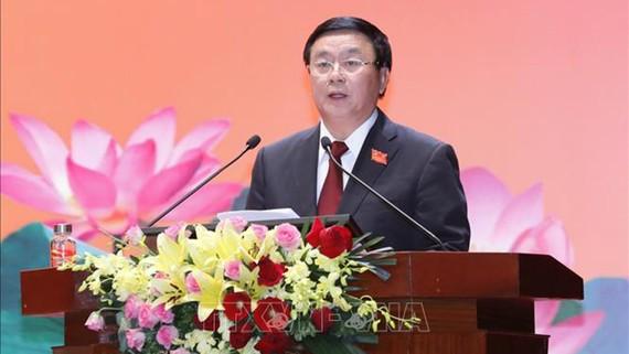 Đồng chí Nguyễn Xuân Thắng, Ủy viên Bộ Chính trị, Chủ tịch Hội đồng Lý luận Trung ương, Giám đốc Học viện Chính trị Quốc gia Hồ Chí Minh phát biểu tại Tọa đàm. Ảnh: TTXVN