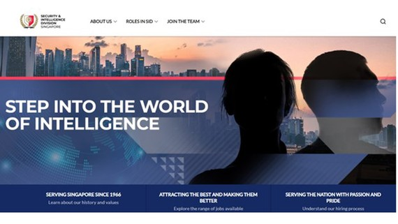 Trang web của Bộ phận Tình báo và An ninh Singapore