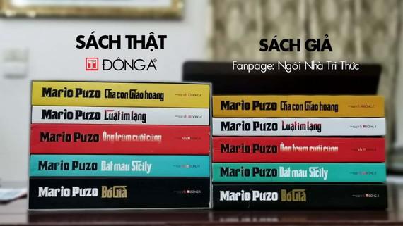 Bộ sách Mario Puzo do Đông A phát hành có kèm hộp. Đơn vị bán sách giả Ngôi nhà tri thức không có boxset, chỉ bọc màng co, tất cả bìa của 5 cuốn đều ghi thông tin phát hành của Đông A. Nguồn: sachdonga