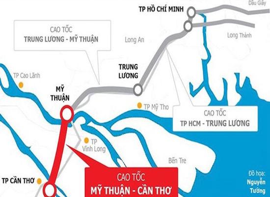 Dự án cao tốc Mỹ Thuận - Cần Thơ, giai đoạn I có tổng chiều dài 23,6km, mặt cắt ngang 4 làn xe, rộng 17m, tổng mức đầu tư khoảng 4.700 tỷ đồng.