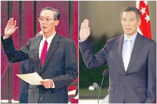 Singapore đang chuẩn bị cho cuộc giao ca thế hệ với nhiều khả năng xuất hiện thủ tướng thứ tư sau kỳ bẩu cử tới. (Trong ảnh: Ông Goh Chok Tong (trái) tuyên thệ nhậm chức thủ tướng thứ hai của Singapore năm 1990 và ông Lý Hiển Long (phải) năm 2004).