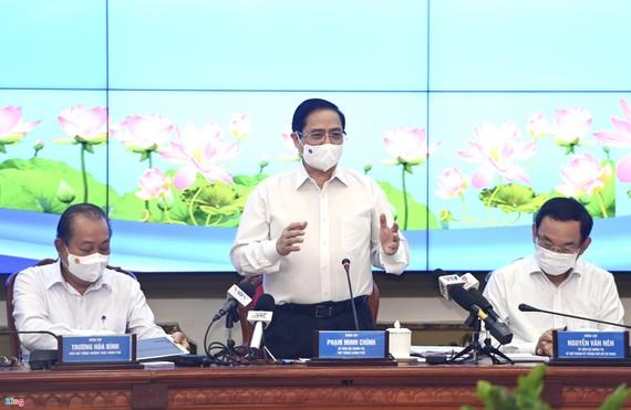 TP.HCM đề xuất nhiều vấn đề trong cuộc làm việc với Thủ tướng sáng 13/5. Ảnh: Thuận Thắng.