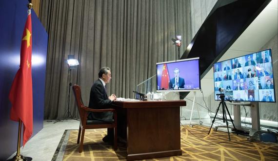 Bộ trưởng Ngoại giao Trung Quốc Vương Nghị chủ trì cuộc tranh luận mở của Hội đồng Bảo an Liên hợp quốc thông qua liên kết video hôm 16-5. Ảnh: Xinhua/SCMP