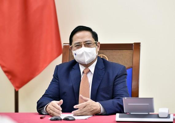 Thủ tướng Phạm Minh Chính đề nghị Úc ưu tiên cho Việt Nam tiếp cận sớm nhất nguồn vaccine AstraZeneca sản xuất tại Australia. Ảnh: VGP