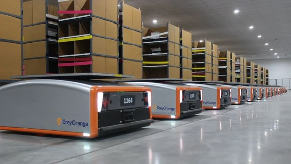 Butler robots, made by India's GreyOrange, are used in warehouses operated by Japanese furniture seller Nitori. (Photo courtesy of GreyOrange)
