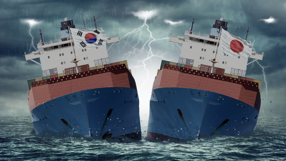Anti-Japan protests and a spreading boycott in South Korea are casting a pall on Japanese business interests. (Montage by Hidechika Nishijima)