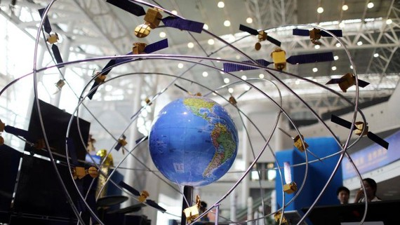A model of the BeiDou navigation satellite system is displayed at an exhibition in China's southern Hunan Province in April.    © Reuters