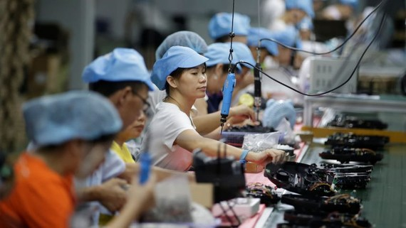 Workers assemble robotic vacuum cleaners at a factory in Shenzhen, China.   © Reuters