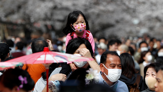 Visitors wearing protective face masks look at blooming cherry blossoms at Ueno park in Tokyo.   © Reuters