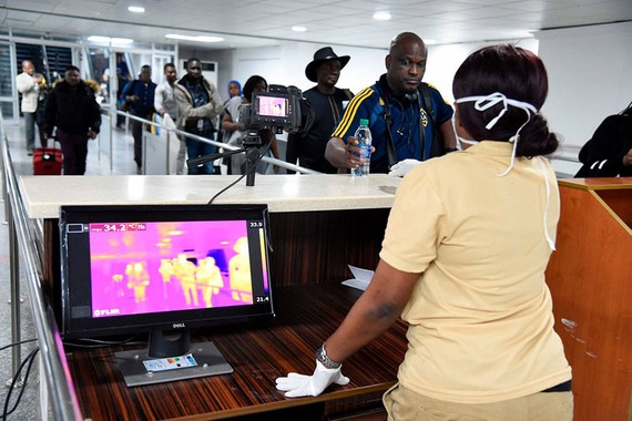 Passengers arrive at the airport in Lagos, Nigeria, where authorities have heightened screening measures. PHOTO: PIUS UTOMI EKPEI/AGENCE FRANCE-PRESSE/GETTY IMAGES