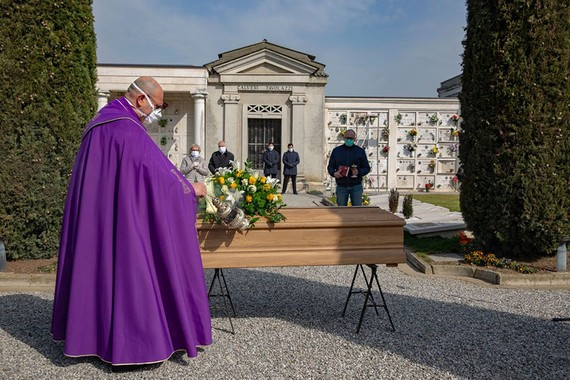The Lombardy region, where this funeral was conducted in Cigole, near Brescia, accounts for 58% of Italy's official coronavirus deaths. PHOTO: FRANCESCA VOLPI FOR THE WALL STREET JOURNAL