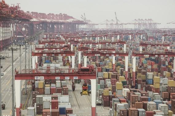 Một cảng biển tại Thượng Hải với các container xếp đầy ngày 4/2/2020
