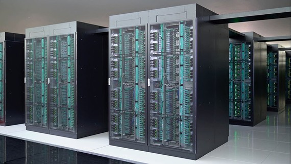 The Fugaku supercomputer is already eight times more powerful than its predecessor despite only being partially operational. (Photo courtesy of Riken)