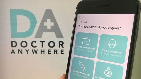 Singapore-based Doctor Anywhere, which raised $27 million in late March, provides video consultation services with doctors, including COVID-19 medical advice, via a smartphone app. (Photo by Kentaro Iwamoto)