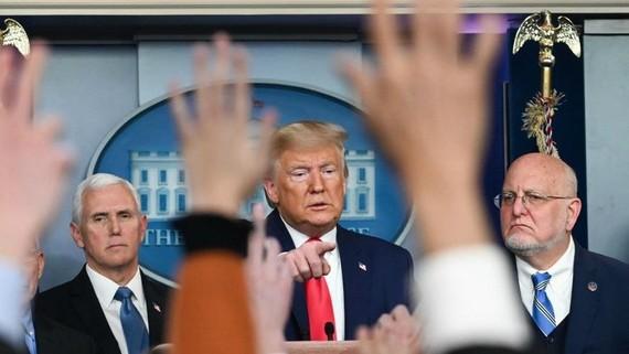 Một cuộc họp báo của Tổng thống Mỹ Donald Trump.