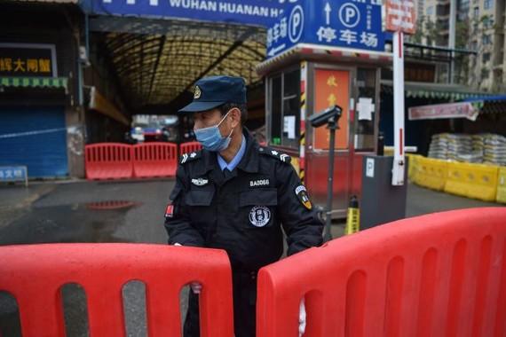 Trong một hình ảnh vào ngày 24 tháng 1, một sĩ quan cảnh sát đứng canh gác bên ngoài chợ bán buôn hải sản Huanan, nơi một số báo cáo cho rằng đại dịch bắt đầu. (Ảnh: © HECTOR RETAMAL / AFP qua Getty Images)